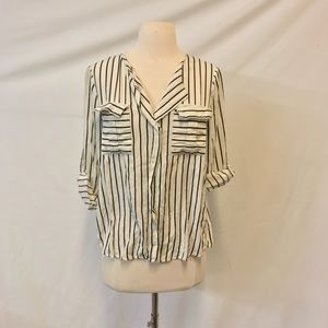 Hot & Delicious Black & White Stripe Blouse Size M
